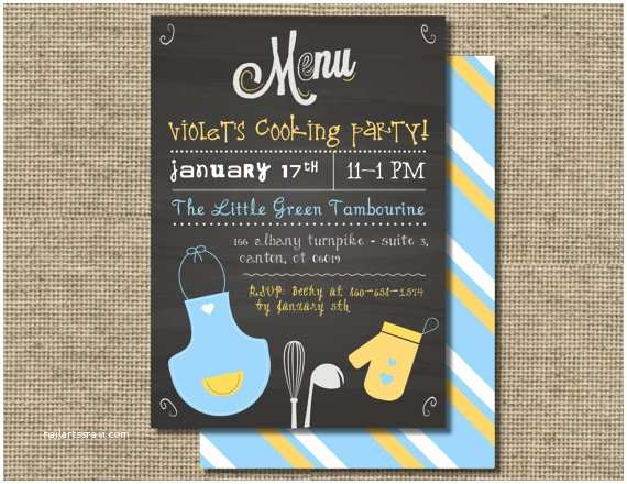Cooking Party Invitations Kids Cooking Birthday Party Invitation Kids Baking Invite