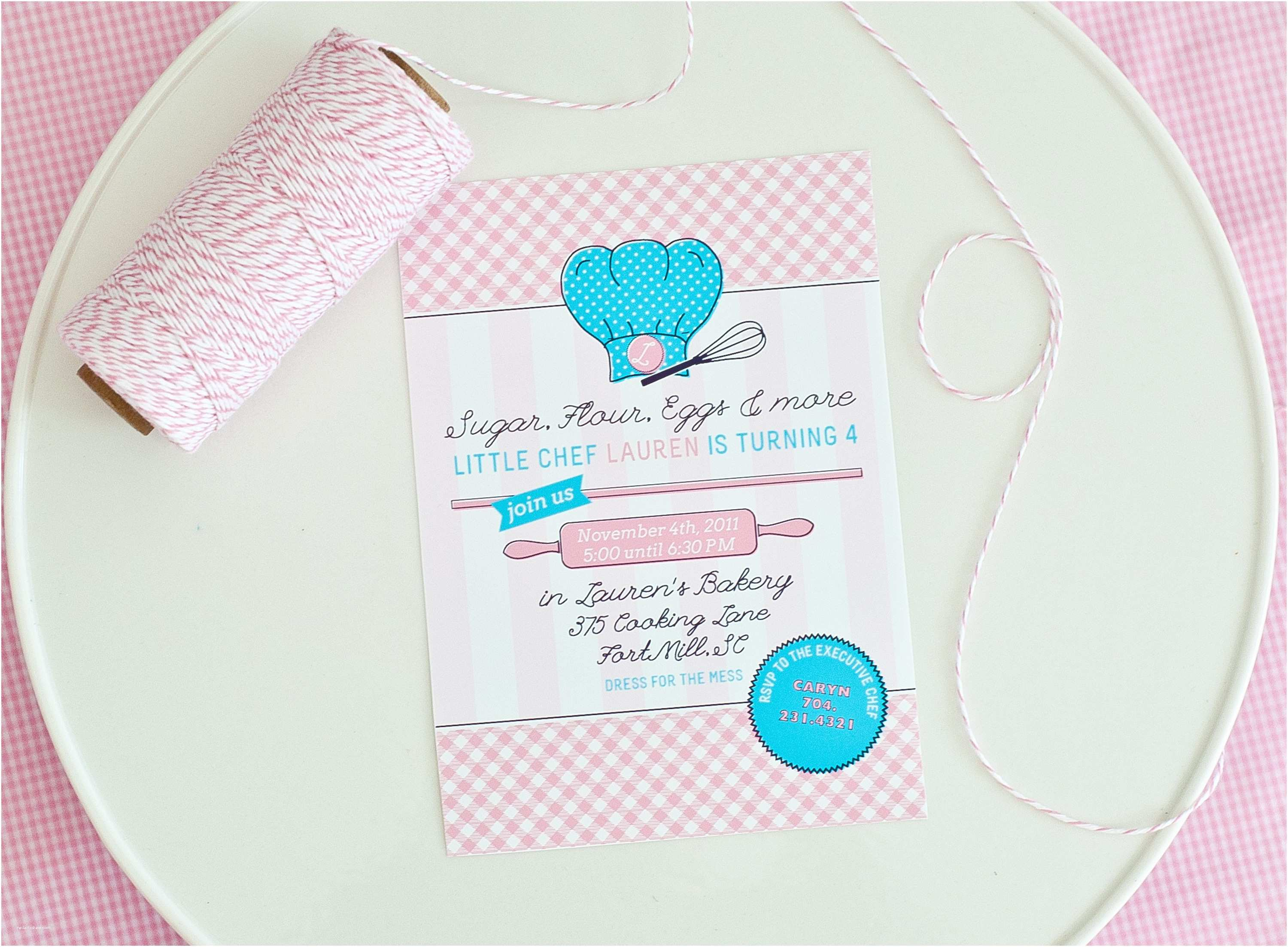 Cooking Party Invitations Lauren S Little Chef Baking Party anders Ruff Custom