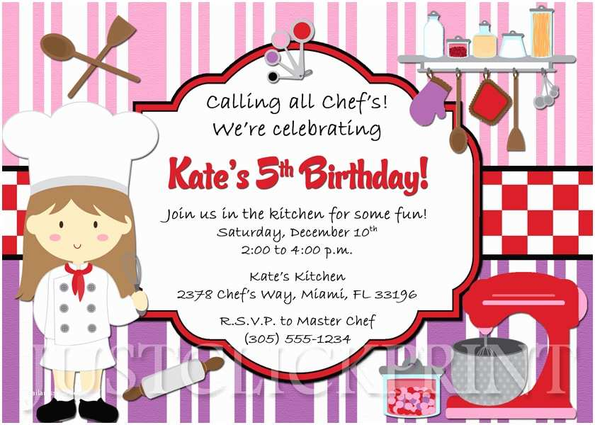 Cooking Party Invitations Little Chef Girls Cooking Party Birthday Invitation