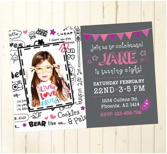 Cool Birthday Invitations 6th Birthday Invitation Girl Birthday Invitation Girl Cool