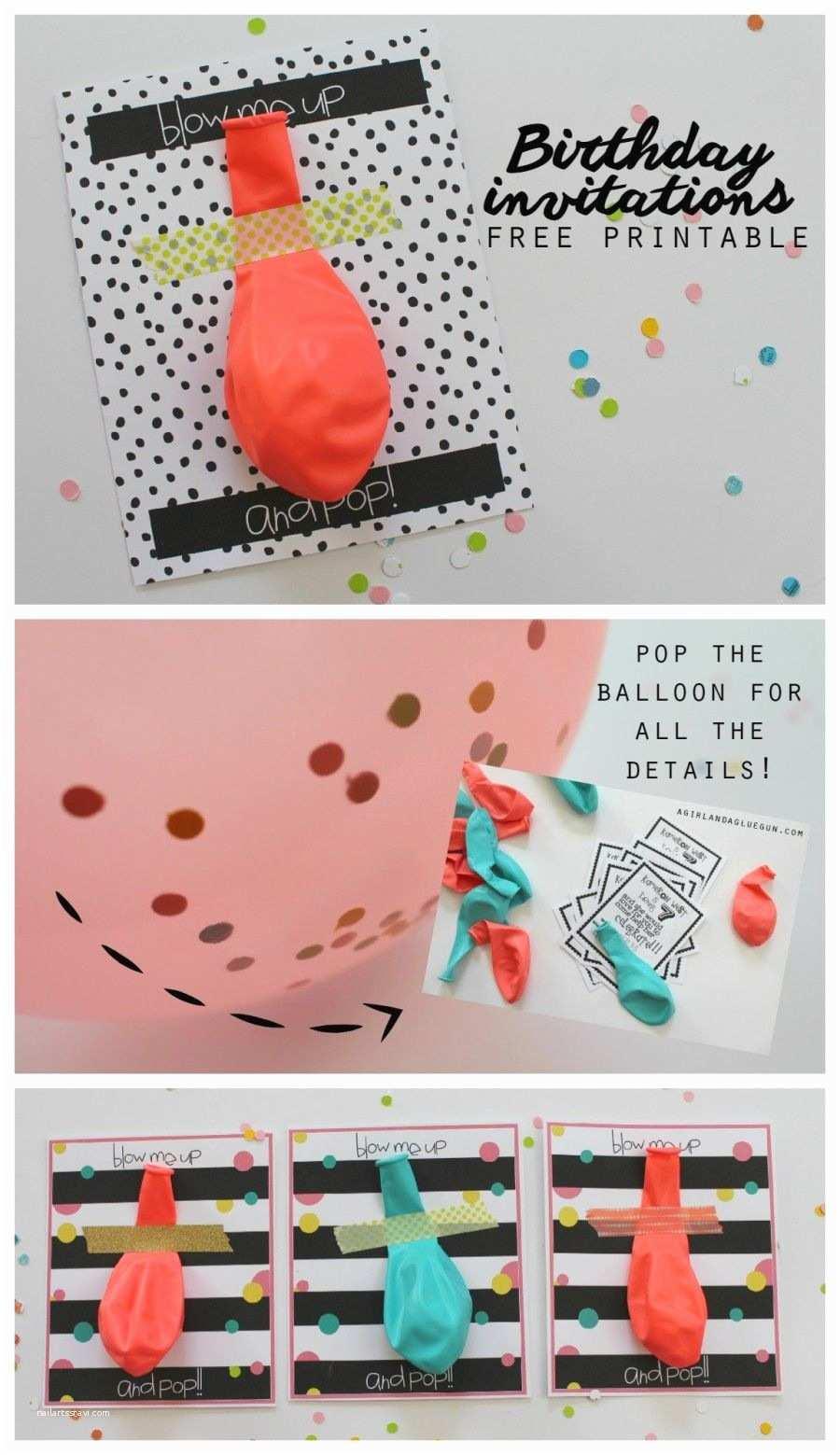Cool Birthday Invitations Balloon Invitations With Free