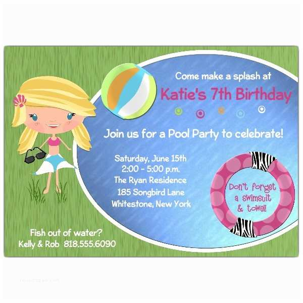 Cool Birthday Invitations Cool Girl Blonde Pool Party Invitations
