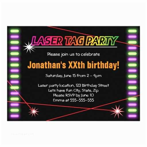 Cool Birthday Invitations Laser Tag Birthday Party Cool Black Personalized Invitation