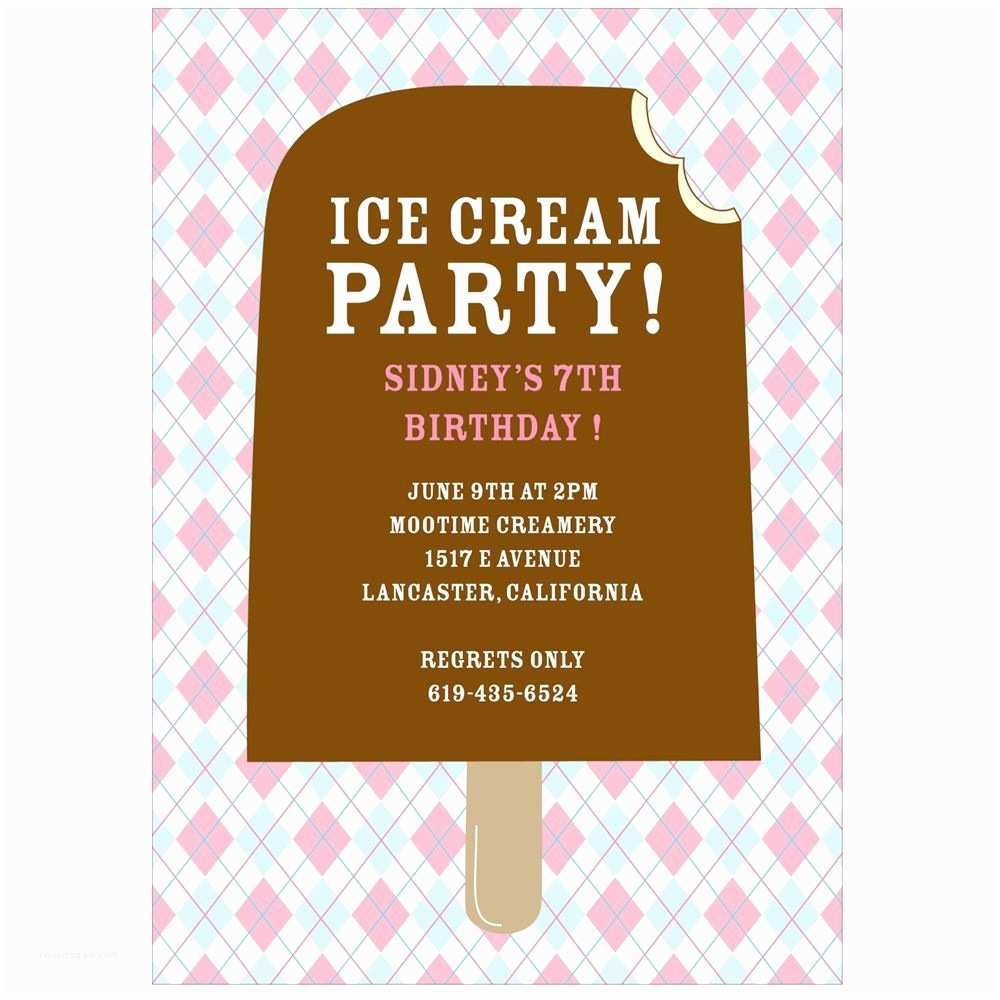 Cool Party Invitations Argyle And Ice Cream In