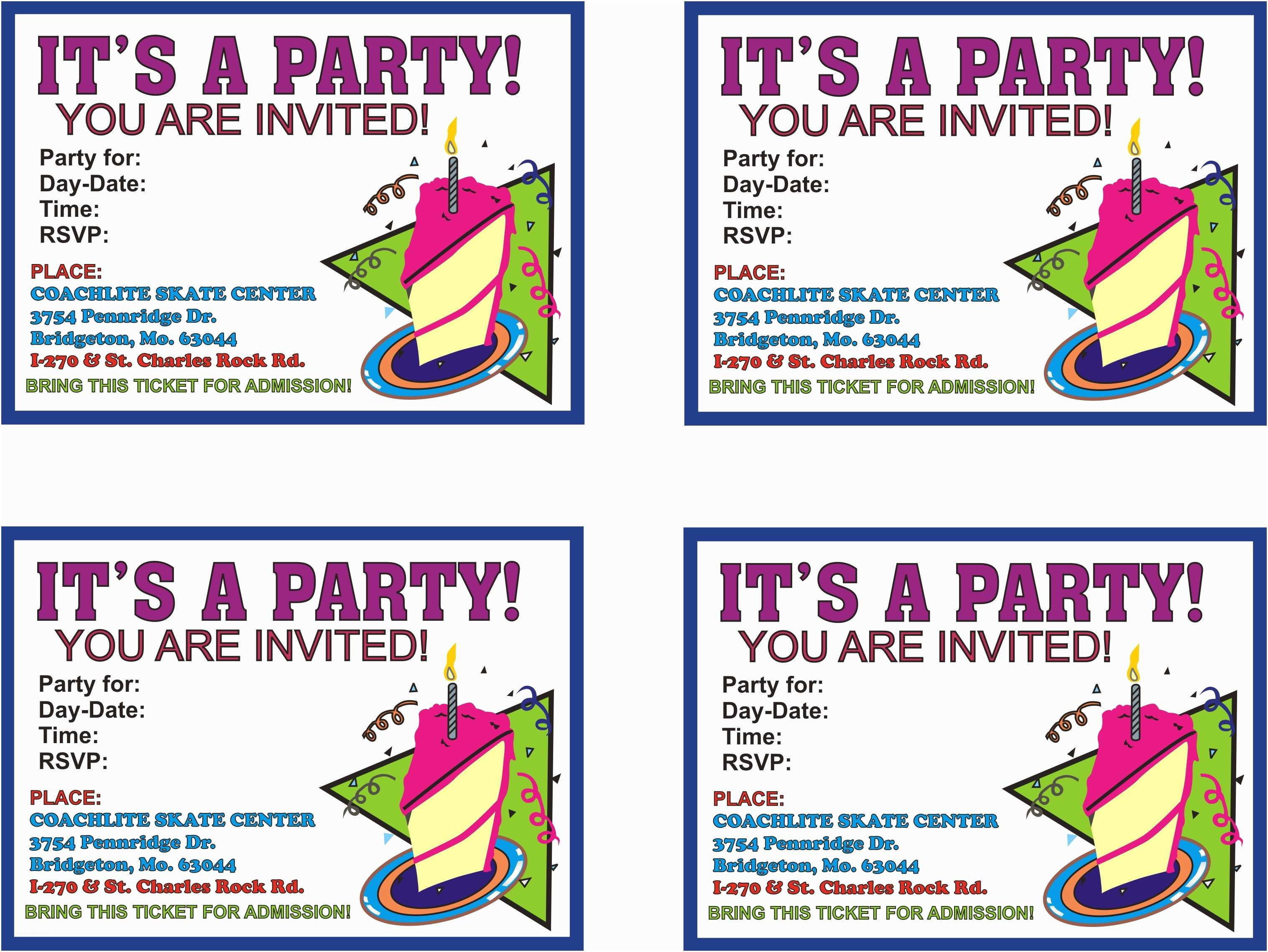 birthday party invitations free templates
