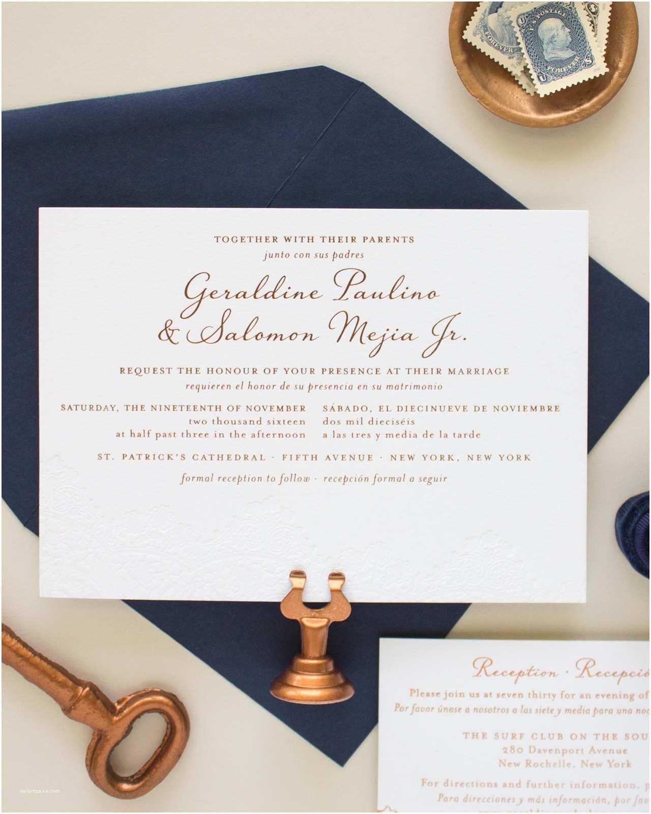 Copper Wedding Invitations Bilingual Copper Foil and Blind Letterpress Wedding