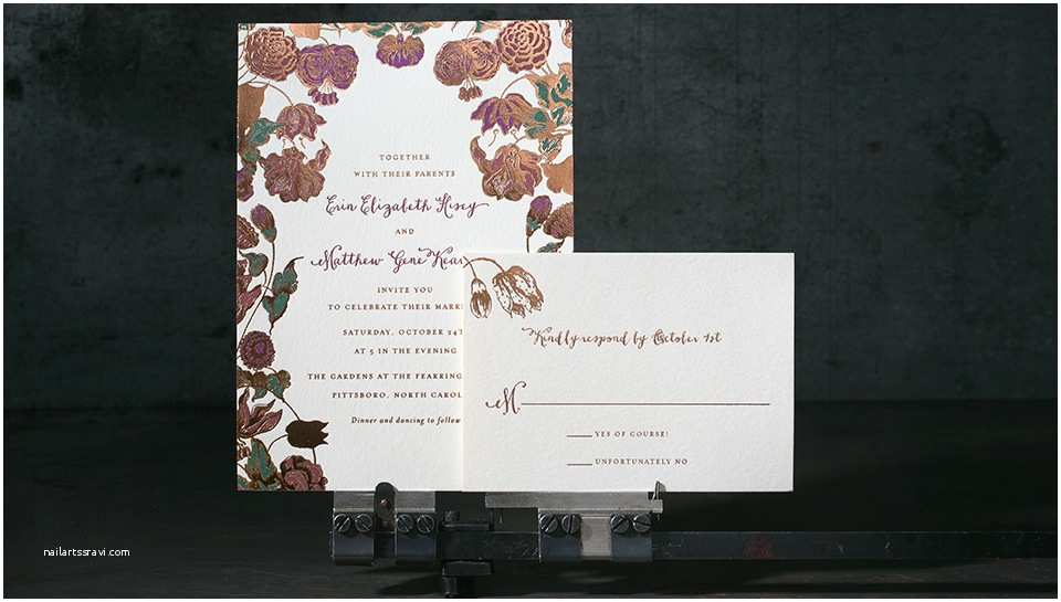 Copper Wedding Invitations Copper Foil Floral Wedding Invitations Mint