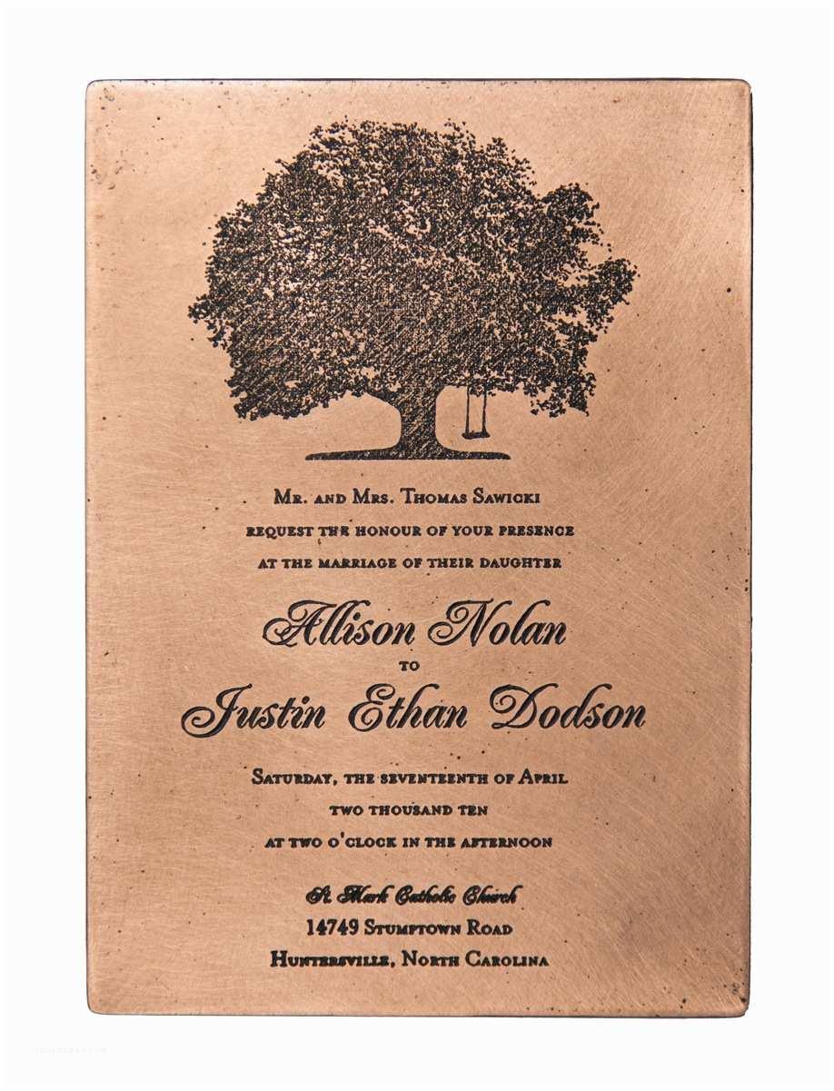 Copper Wedding Invitations Etched Copper Wedding Invitation Marriage Certificate