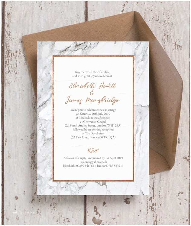 Copper Wedding Invitations Marble & Copper Wedding Invitation From £1 00 Each
