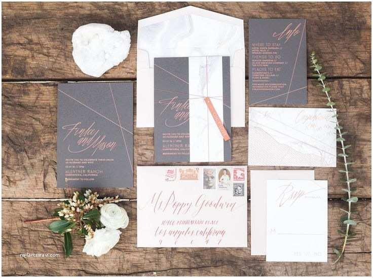 Copper Wedding Invitations Modern Marble Copper Wedding Inspiration