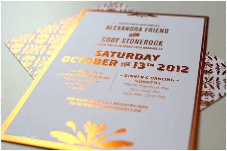 Copper Wedding Invitations Our Wedding Invites Copper Foil Stamped