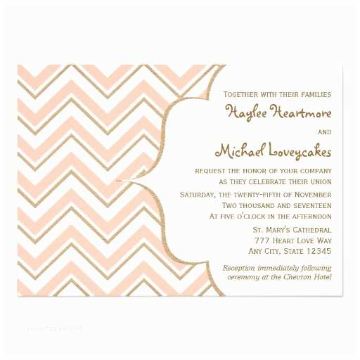 "Coral and Gold Wedding Invitations Coral and Gold Chevron Wedding Invitations 5"" X 7"