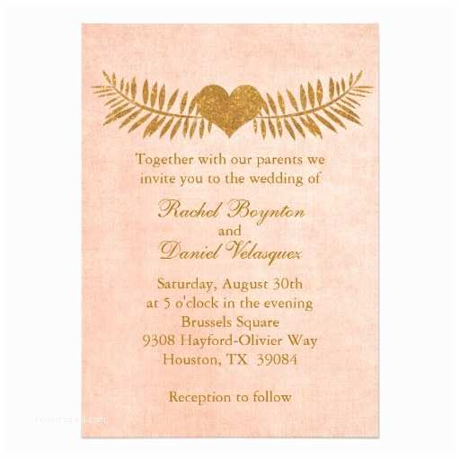 "Coral and Gold Wedding Invitations Coral and Gold Heart Wedding Invitation 5"" X 7"" Invitation"