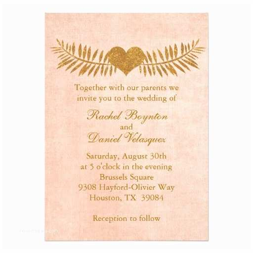 Coral and Gold Wedding Invitations Coral and Gold Heart Wedding Invitation