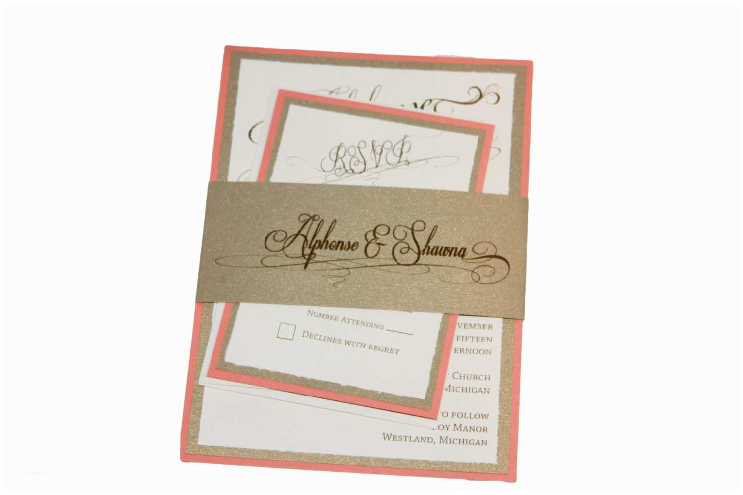 Coral and Gold Wedding Invitations Coral Gold and Cream Wedding Invitation Peach and by