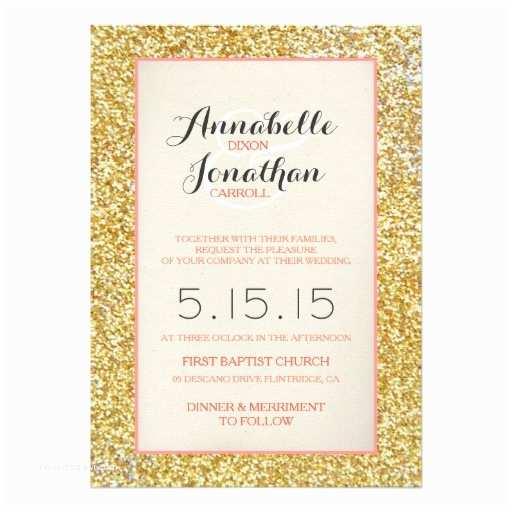 Coral and Gold Wedding Invitations Coral Gold Glitter Wedding Announcement Invitation