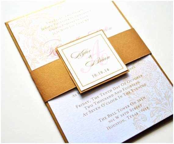 Coral and Gold Wedding Invitations Coral Invitation Gold Invitation Gold by Whimsybdesigns On