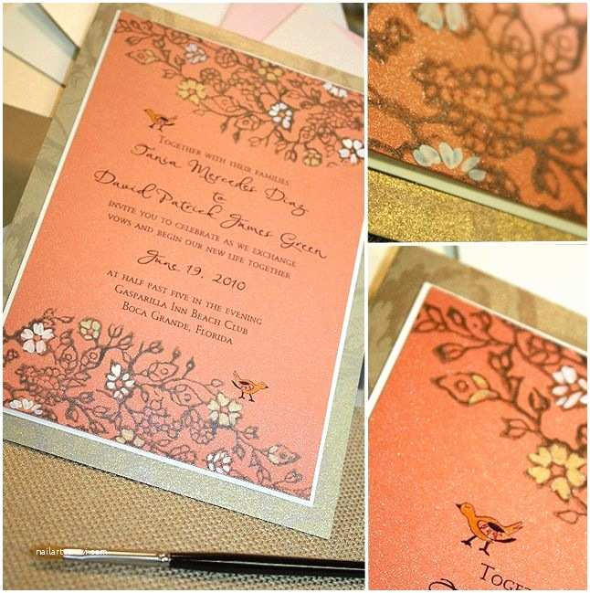 Coral and Gold Wedding Invitations Coral Invitations Wedding