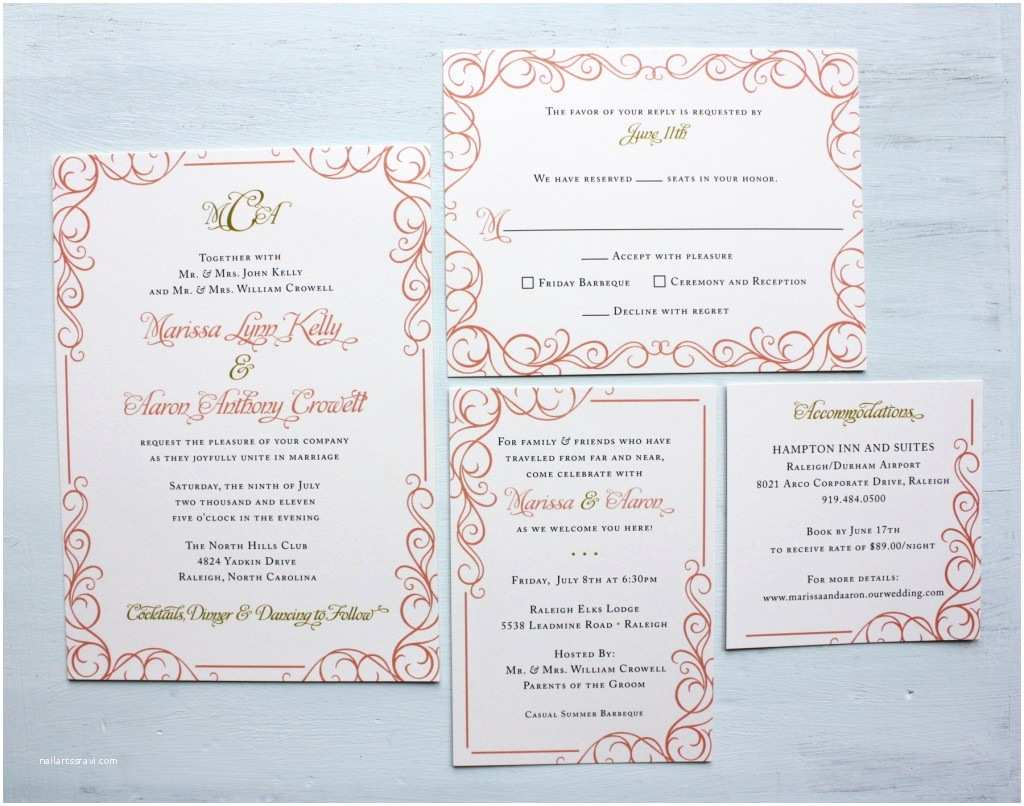 Coral and Gold Wedding Invitations Coral Pink and Gold Swirly Scroll Border Wedding