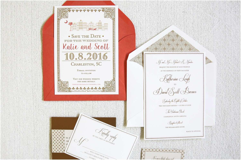 Coral and Gold Wedding Invitations Coral Wedding Invitation & Gold Dodeline Design Charleston Sc