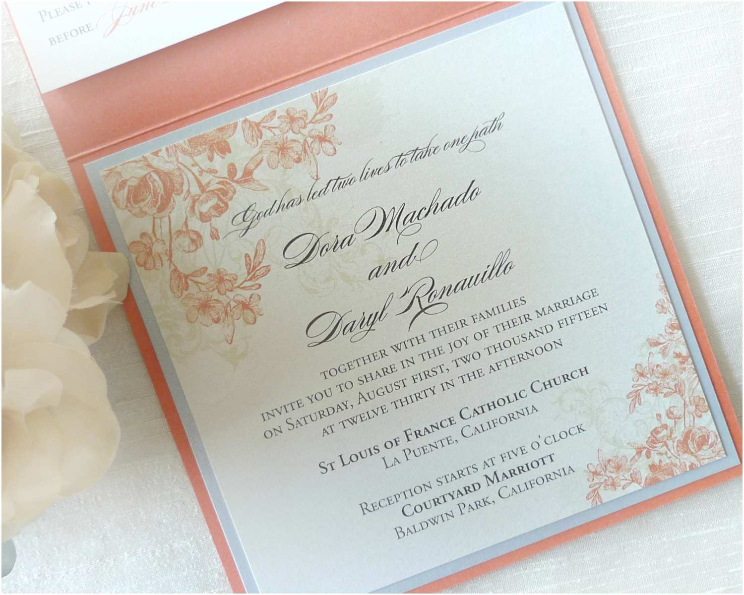 Coral and Gold Wedding Invitations Coral Wedding Invitation Floral Wedding by Idoconcepts