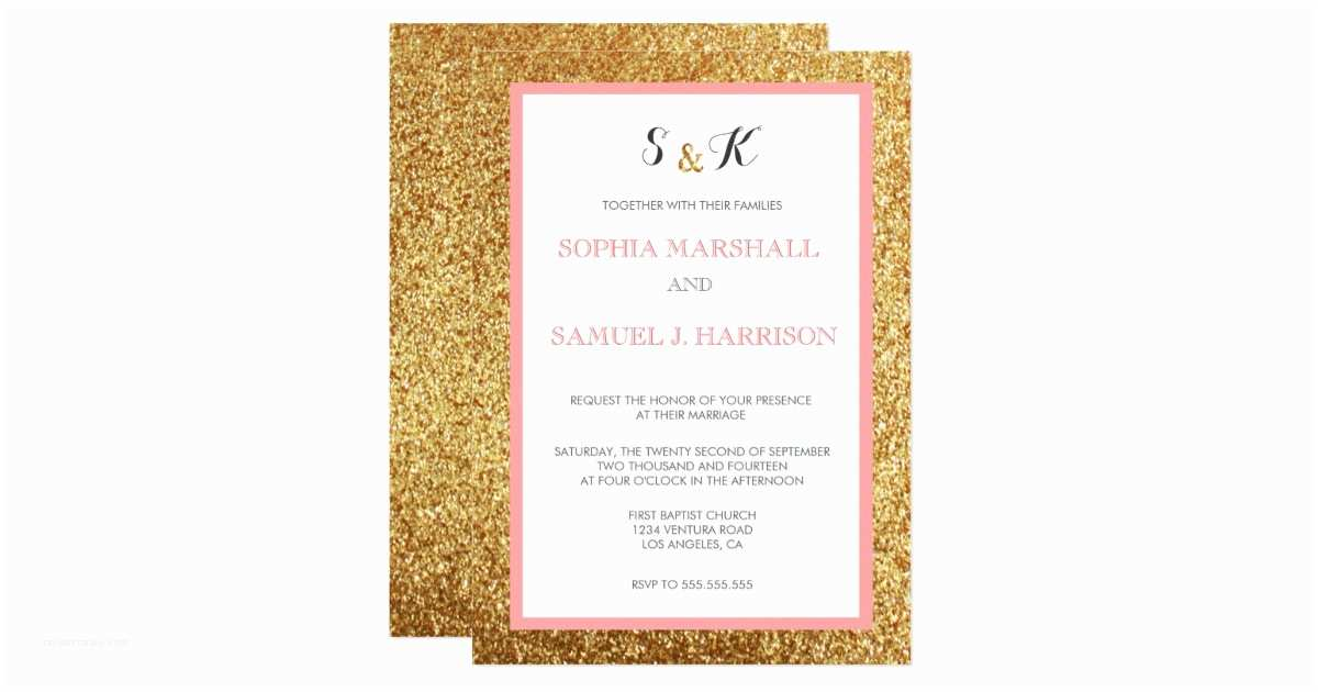 Coral and Gold Wedding Invitations Elegant Coral Glitter Gold Wedding Invitation