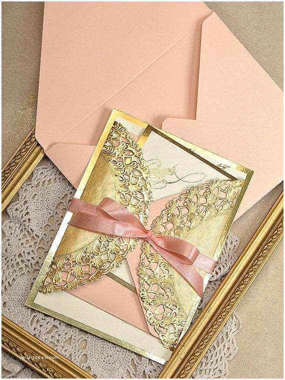 Coral and Gold Wedding Invitations Gold and Peach Wedding Invitation Peach Gold Invitation