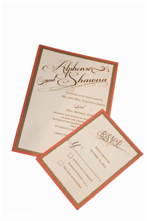 Coral and Gold Wedding Invitations Gold Coral and Cream Wedding Invitations On Storenvy