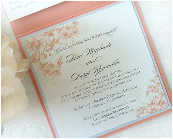 Coral and Gold Wedding Invitations Items Similar to Coral Wedding Invitation Floral Wedding