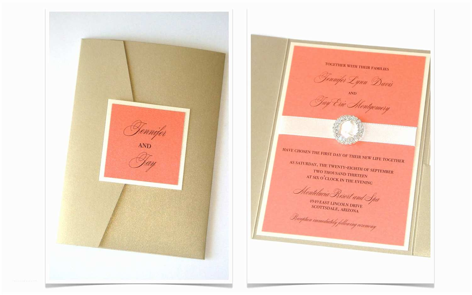 Coral and Gold Wedding Invitations Jennifer Pocketfold Crystal Buckle Invitation Set Sample