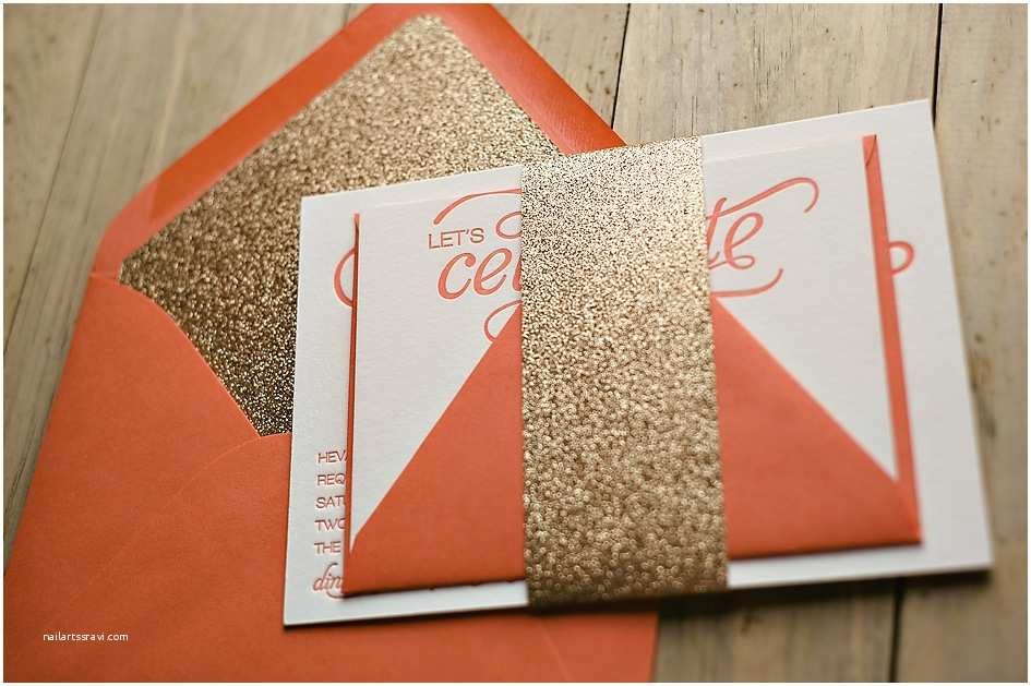 Coral and Gold Wedding Invitations Nicole S the Glitter Treatment Coral and Gold Glitter