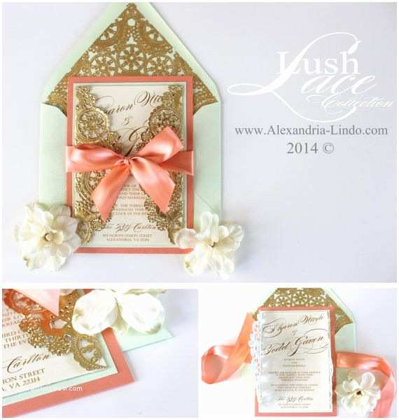 Coral and Gold Wedding Invitations Wedding Invitation Vintage Coral Mint and Gold by