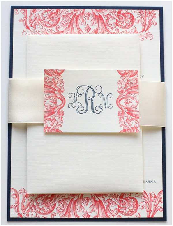 Coral and Navy Wedding Invitations Coral & Navy Wedding Invitations
