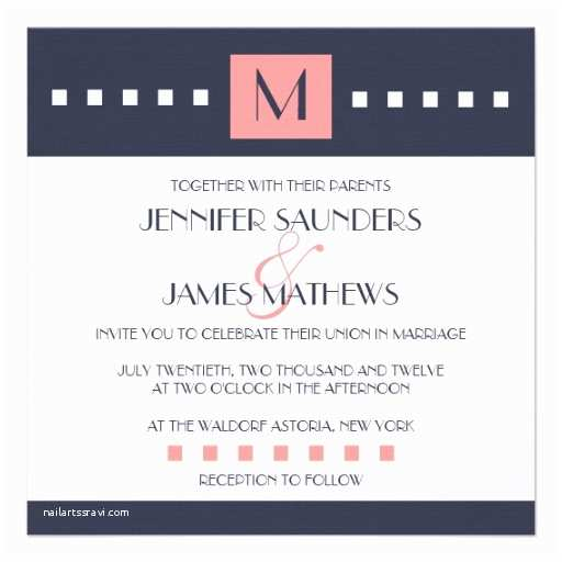 "Coral and Navy Wedding Invitations Coral Navy Blue Monogram Wedding Invitations 5 25"" Square"