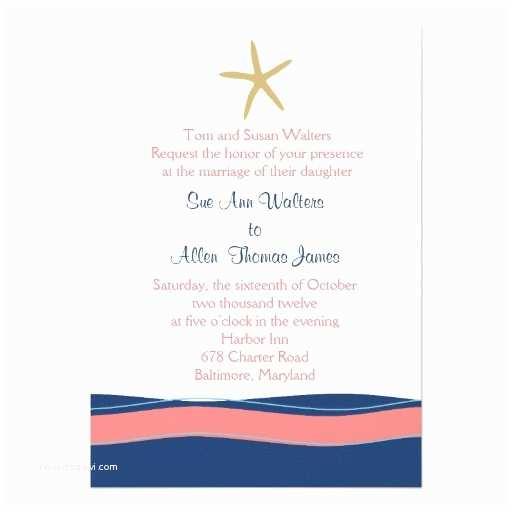 Coral and Navy Wedding Invitations Coral Pink Navy Beach Starfish Wedding Invitation