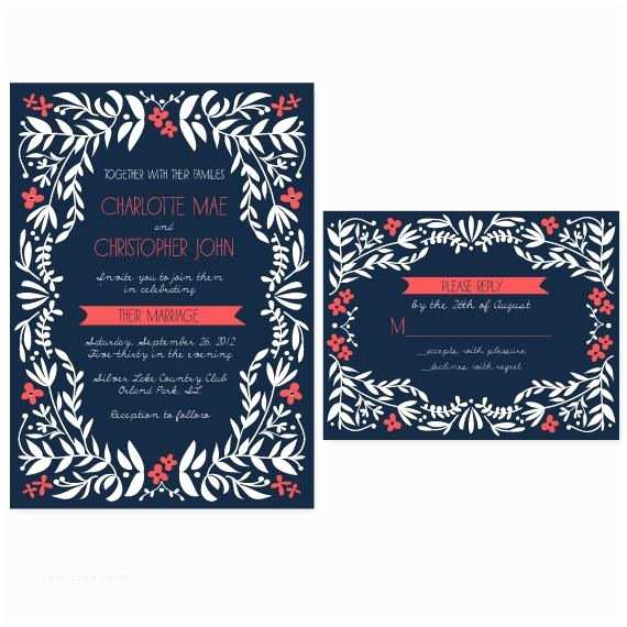 Coral and Navy Wedding Invitations Navy and Coral Charming Vines Wedding Invitation $75 00