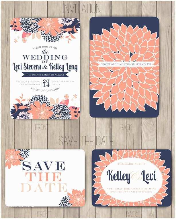 Coral and Navy Wedding Invitations Navy and Coral Wedding Inspiration Mood Board sohosonnet