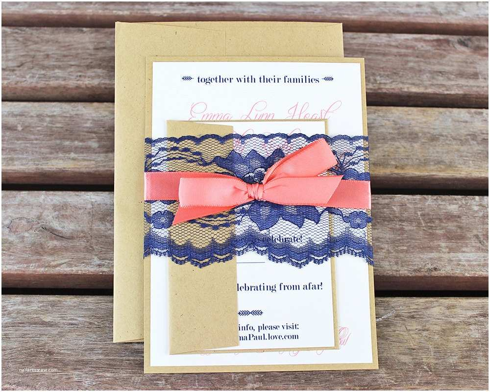 Coral and Navy Wedding Invitations Navy and Coral Wedding Invitations Handmade Cards Rustic