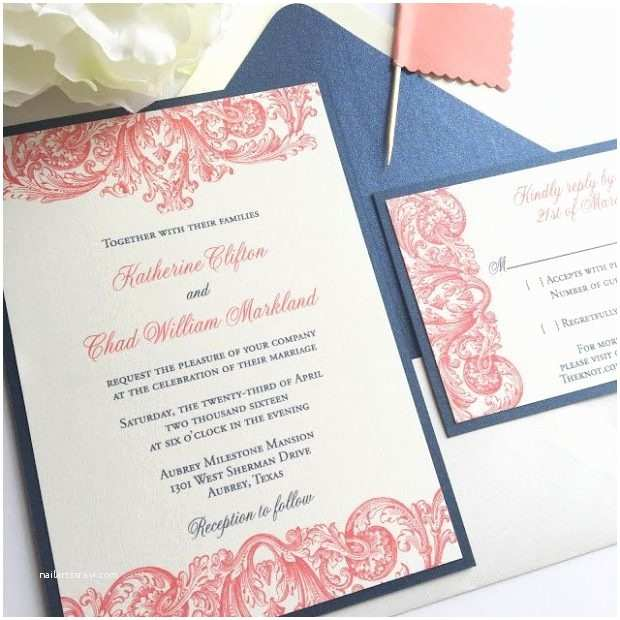 Coral and Navy Wedding Invitations Navy and Coral Wedding Invitations Portrayal – Runnerswebsite