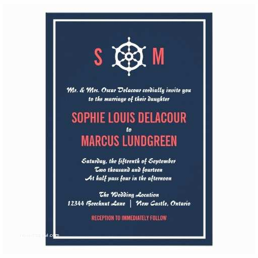 Coral and Navy Wedding Invitations Navy Blue and Coral Nautical Wedding Invitation