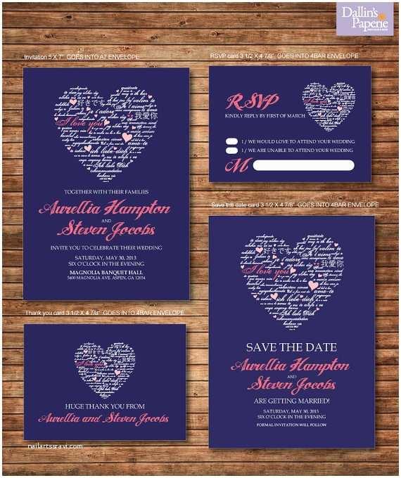 Coral and Navy Wedding Invitations Wedding Invitation Printables Coral and Navy Blue Heart