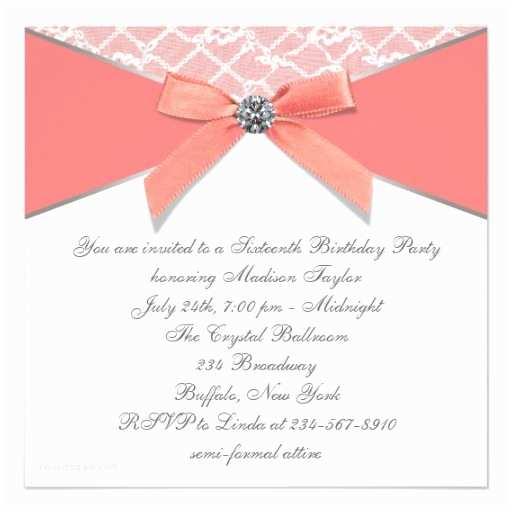 Coral Quinceanera Invitations Coral Diamonds Coral Sweet 16 Birthday Party Custom Invitation
