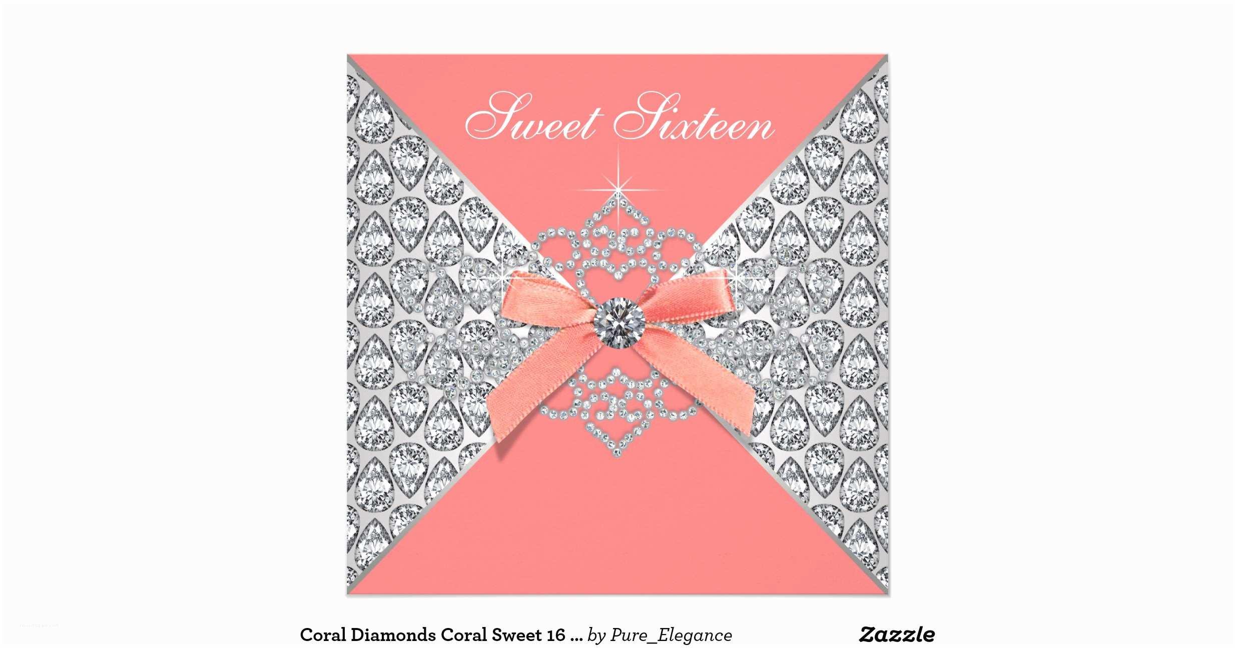 Coral Quinceanera Invitations Coral Diamonds Coral Sweet 16 Birthday Party Invitation