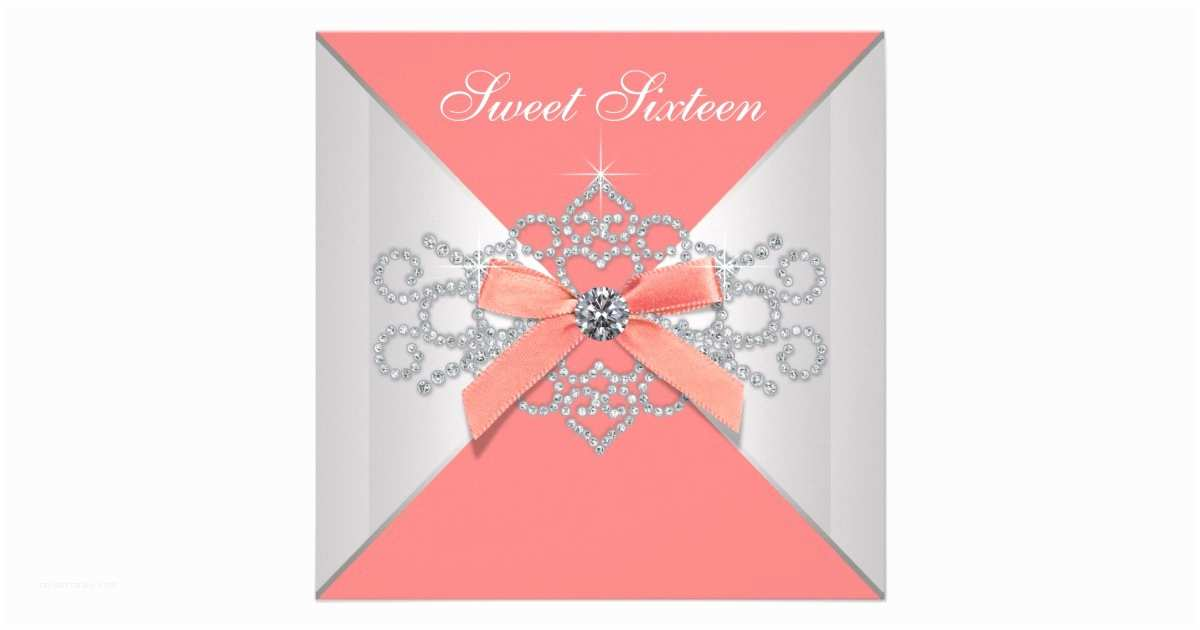 Coral Quinceanera Invitations Coral Diamonds Coral Sweet 16 Birthday Party Invitations