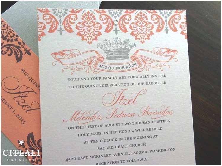 Coral Quinceanera Invitations Crown & Vintage Lace Quinceañera Pocket Invitations In