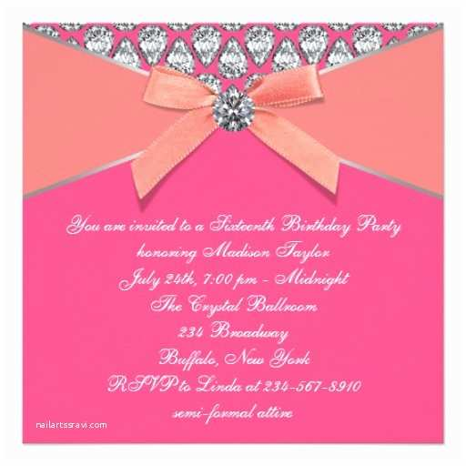 Coral Quinceanera Invitations Pink Coral Diamonds Coral Sweet 16 Birthday Party Card