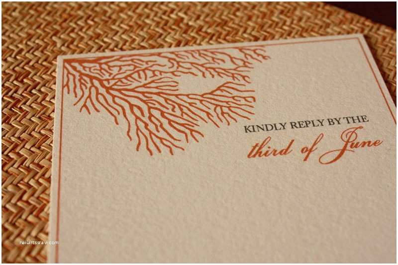 Coral Wedding Invitations Art Deco Sea Coral Wedding Invitations