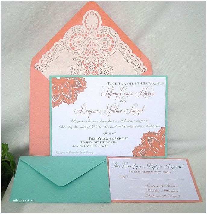 Coral Wedding Invitations Coral Peach N Turquoise Blue Aqua Teal Blue Lace Wedding