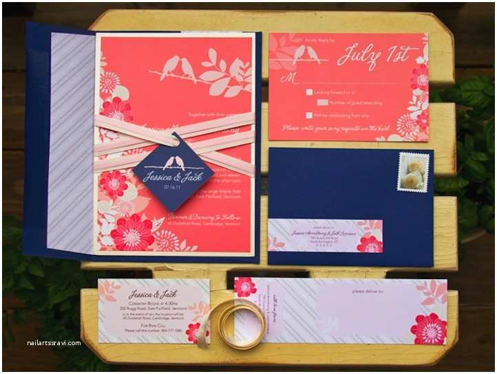 Coral Wedding Invitations Gorgeous Navy and Coral Wedding Invitations