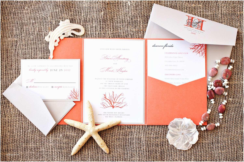 Coral Wedding Invitations Items Similar to Coral Beach Destination Wedding